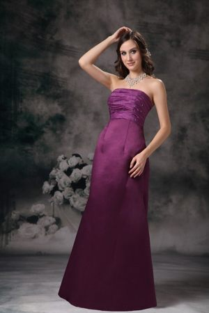Purple Column Elegant Prom Dress Strapless Taffeta Beading Floor-length
