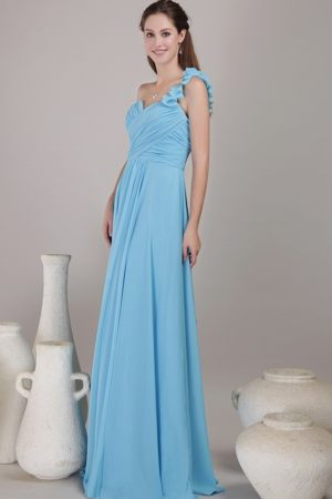 Baby Blue Empire One Shoulder Floor-length Chiffon Ruched Prom Dress