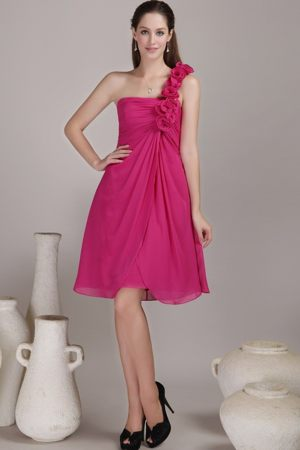 Hand Made Flowers Fuchsia Bridesmaid Dress One Shoulder