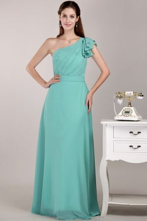 Turquoise Column One Shoulder Maternity Bridemaid Dress in Darby