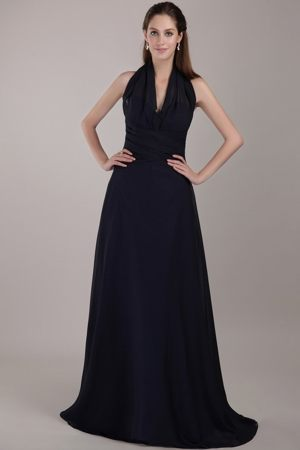 Halter Top Brush Train Informal Bridesmaid Dresses in Navy Blue