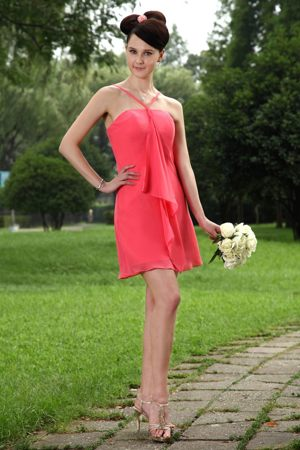 Coral Red Empire Straps Mini-length Bridesmaid Dress in Natchez