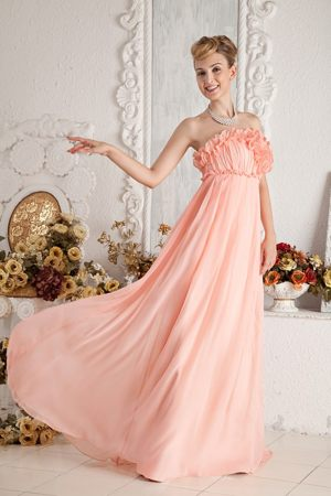 Ruffled Empire Strapless Floor-length Junior Bridesmaid Dress