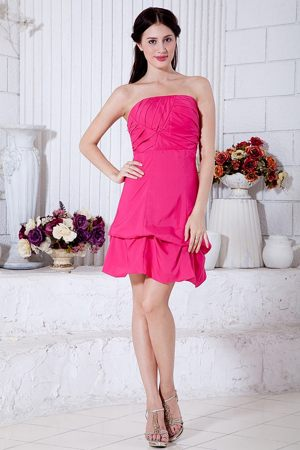Hot Pink Strapless Bridemaid Dress for Weeding Mini-length