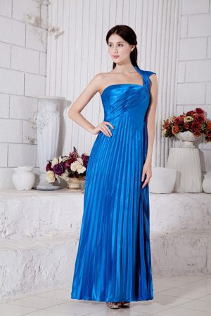 Bridesmaid Gowns Empire One Shoulder Pleated Tea-length Royal Blue