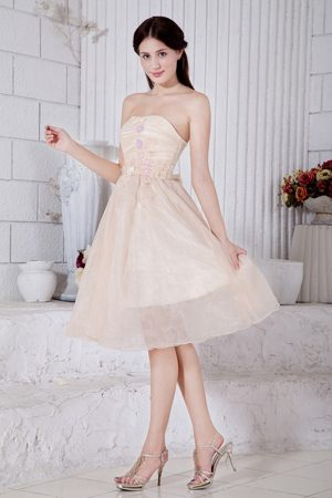 Champagne Strapless Short Bridemaid Dress for Church Wedding