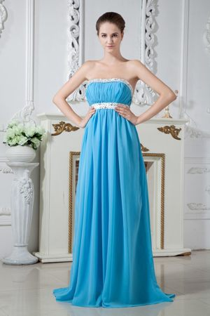 Beading Strapless Aqua Blue Junior Bridesmaid Dress Brush Train