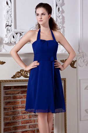 Empire Halter Top Mini-length Royal Blue Dress for Bridesmaid