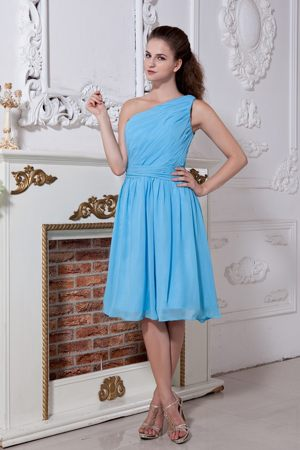 Aqua Blue One Shoulder Knee-length Bridemaid Dress for Church Wedding