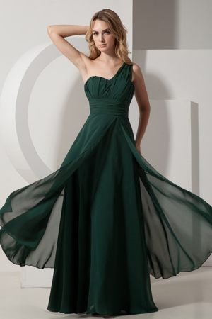 Dark Green A-line One Shoulder Bridesmaid Dress Floor-length