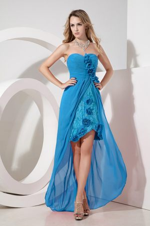 Sweetheart High-low Lace Maternity Bridemaid Dress in Turquoise