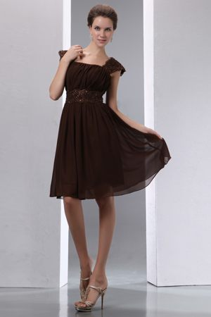 Sequin Brown Cap Sleeves Bridesmaids Dresses Knee-length