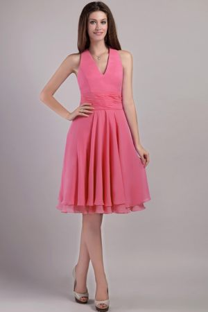Halter Top Knee-length Bridesmaids Dresses in Watermelon Red