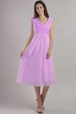 Empire V-neck Ankle-length Lilac Plus Size Bridemaid Dress in Tupelo