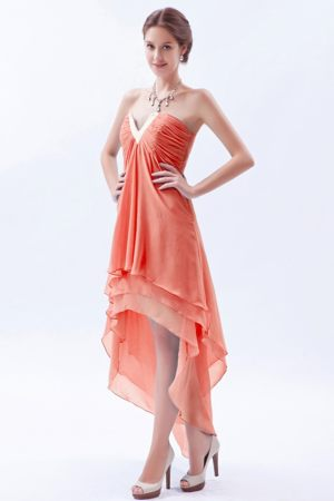 High-low Slot V-neck Orange Red Bridemaid Dress for Church Wedding