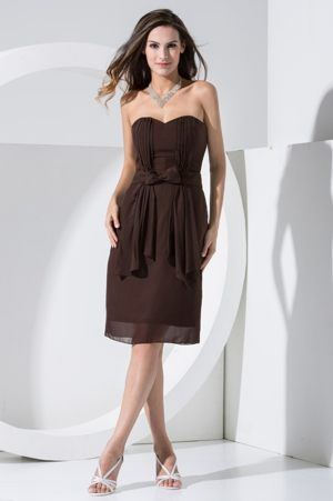 Brown Sweetheart Bridesmaid Dress with Bowknot and Pocket