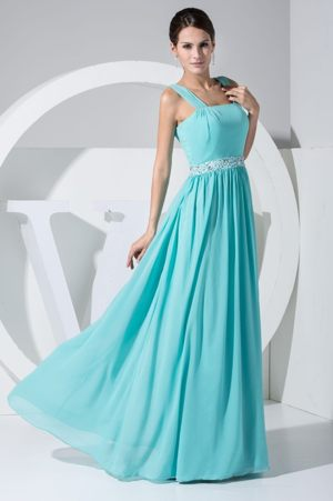 Straps Blue Floor-length Bridesmaid Gowns with Beaded Belt