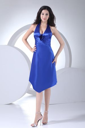 Halter Top Knee-length Royal Blue Formal Bridesmaid Dresses