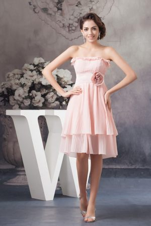 Flouncing Strapless Layered Dress for Bridesmaid in Baby Pink