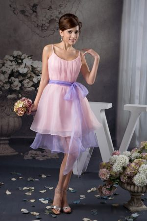 Baby Pink Straps Prom Bridemaid Dress for Summer Wedding with Sash