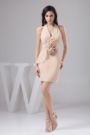 Column Halter Dress for Bridesmaid in Champagne in Batesville