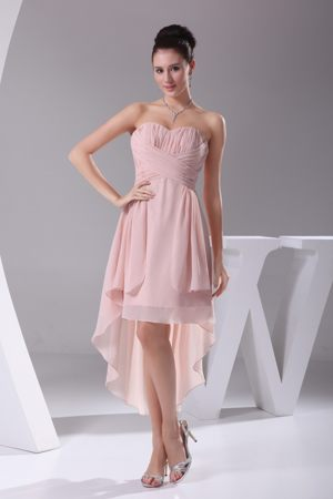 Sweetheart High-low Baby Pink Bridemaid Dress for Wedding