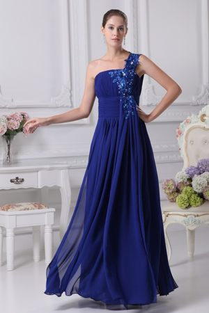 Appliques One Shoulder Royal Blue Bridemaid Dress for Church Wedding