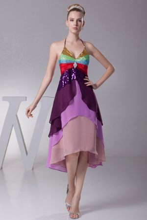 Colorful Halter Straps Tiered High-low Bridesmaid Dress in Laurel