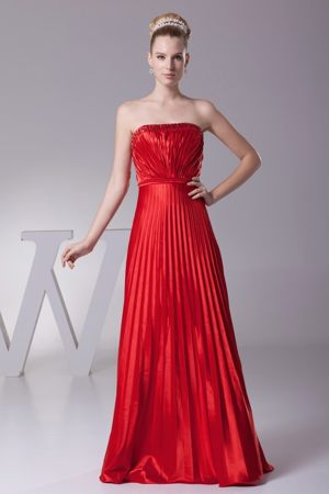 Pleated Strapless Red Bridemaid Dress for Weeding in Brookhaven