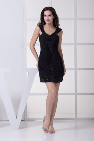 Black Wide Straps Sheath Dress for Bridesmaid with Paillettes