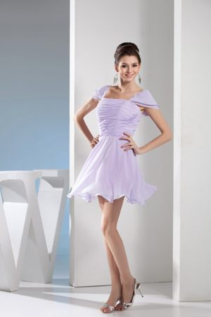 Short Sleeves Square Mini-length Dress for Bridesmaid in Lavender
