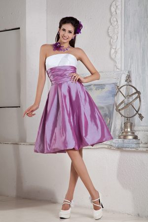 Lilac and White Bridesmaid Gown A-line Strapless Knee-length