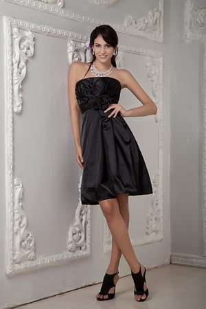 Ruched Knee-length Black Bridesmaid Dress Strapless in Indiana