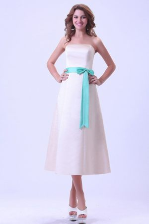 Bridemaid Dress Strapless with Sash Tea-length in Champagne