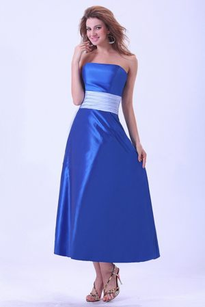 Low Price Sash Strapless Tea-length Royal Blue Taffeta Bridemaid Dress
