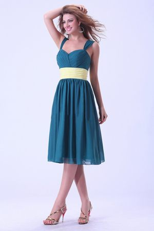 New Jersey Straps Sash Peacock Green Chiffon Dresses for Bridesmaid