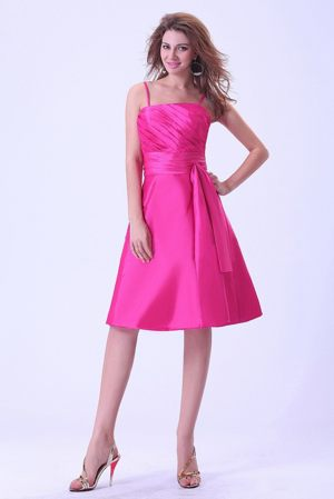 Straps Ruched Sash Taffeta Blair Nebraska Hot Pink Bridemaid Gowns