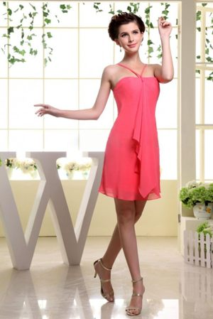 Simple Straps Ruffled Chiffon Coral Red Mini-length Bridesmaid Dresses