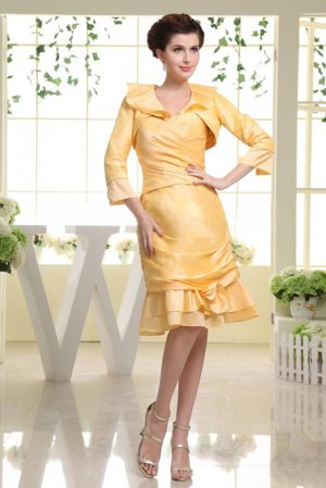Ruche Sweetheart Yellow Taffeta with Matching Jacket Bridesmaid Dress