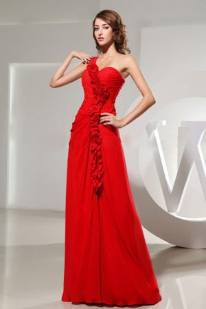 Red One Shoulder Ruched Hand Made Flowers Long Bridesmaid Gowns