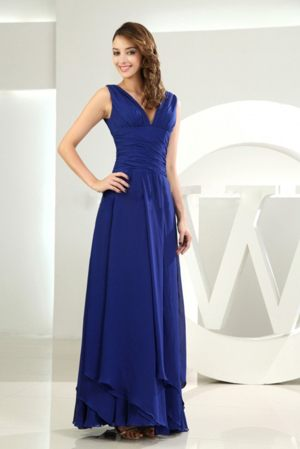 Ankle-length Ruche V-neck Royal Blue Chiffon Layers Bridesmaid Gown