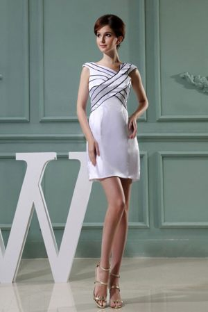 Black Lines White Mini-length Bridesmaid Dress with Asymmetrical Neck