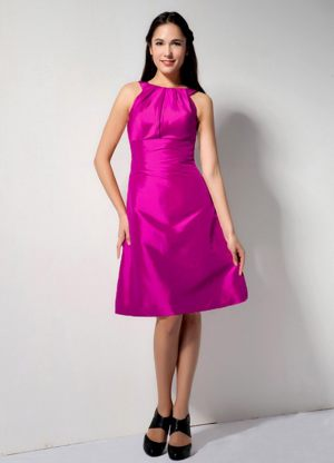 Bateau Neck Fuchsia Taffeta Bridesmaid Party Dress in Ontario Oregon