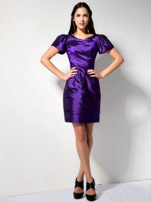 Short Sleeves V-neck Mini-length Purple Bridesmaid Dress for Wedding