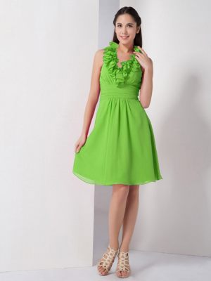 Ruffled Halter Ruched Spring Green Chiffon Church Bridesmaid Dresses