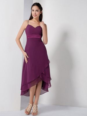 High-low Straps Dark Purple Bridesmaid Dresses with Asymmetrical Hem