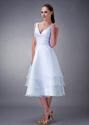 Layers Ruched V-neck Baby Blue Organza Tea-length Bridesmaid Dress