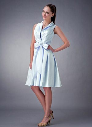 Collar V-neck Bowknot Ruched Bridesmaid Dress in Edmond Oklahoma