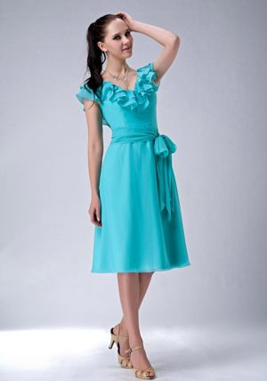 Flounce V-neck Sash Turquoise Chiffon Tea-length Bridesmaid Dresses
