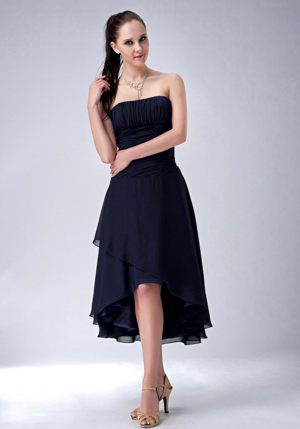 Strapless Ruched Navy Blue High-low Columbus Ohio Bridesmaid Dress